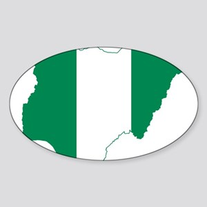 Nigeria Flag and Map Sticker (Oval)
