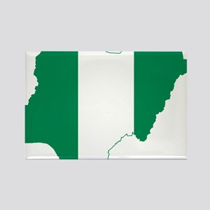 Nigeria Flag and Map Rectangle Magnet