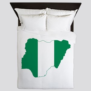 Nigeria Flag and Map Queen Duvet