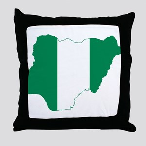 Nigeria Flag and Map Throw Pillow