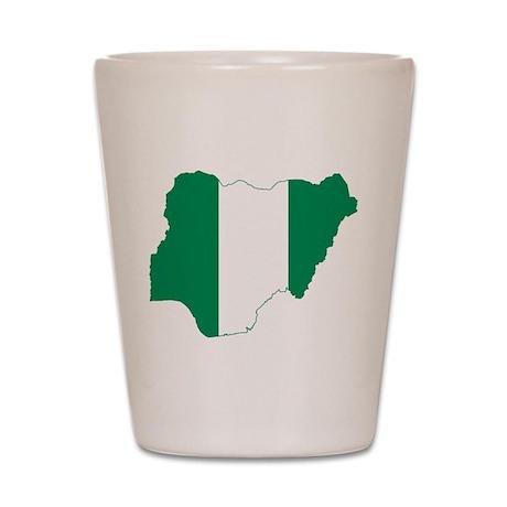 Nigeria Flag and Map Shot Glass