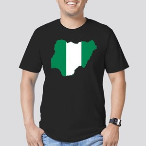 Nigeria Flag and Map Men's Fitted T-Shirt (dark)