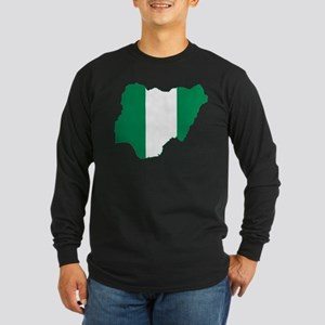 Nigeria Flag and Map Long Sleeve Dark T-Shirt