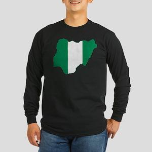 Nigeria Flag and Map Long Sleeve Dark T-Shirt