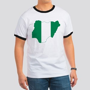 Nigeria Flag and Map Ringer T