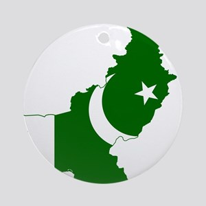 Pakistan Flag and Map Ornament (Round)
