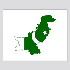Pakistan Flag and Map Small Poster