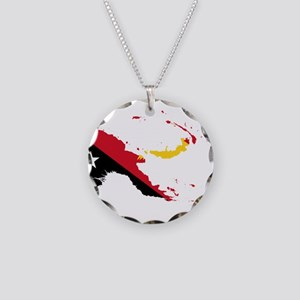 Papua New Guinea Flag and Map Necklace Circle Char