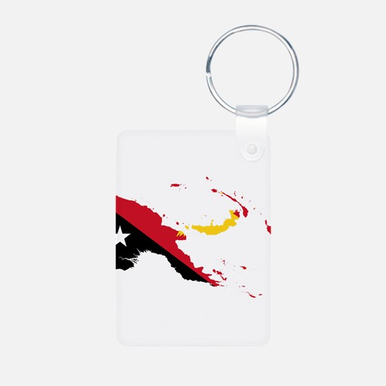 Papua New Guinea Flag and Map Keychains
