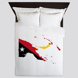 Papua New Guinea Flag and Map Queen Duvet