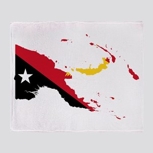 Papua New Guinea Flag and Map Throw Blanket