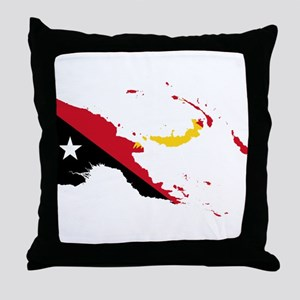 Papua New Guinea Flag and Map Throw Pillow