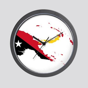 Papua New Guinea Flag and Map Wall Clock
