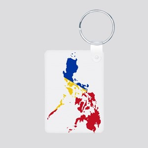 Philippines Flag and Map Aluminum Photo Keychain