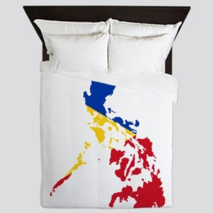 Philippines Flag and Map Queen Duvet