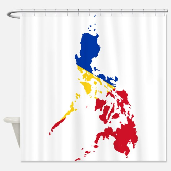 Philippines Flag and Map Shower Curtain