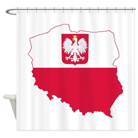 Poland State Ensign Flag and Map Shower Curtain