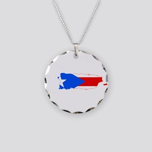 Puerto Rico Flag and Map Necklace Circle Charm