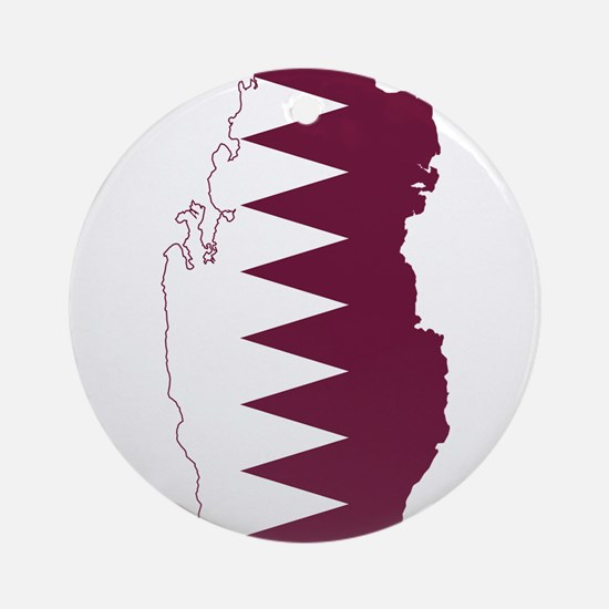 Qatar Flag and Map Ornament (Round)