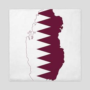 Qatar Flag and Map Queen Duvet