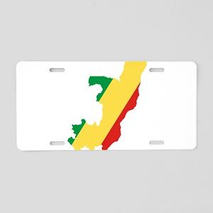 Republic of the Congo Flag and Map Aluminum Licens