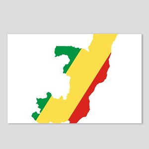 Republic of the Congo Flag and Map Postcards (Pack