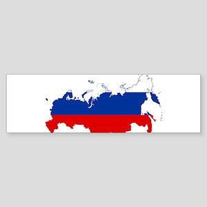 Russia Flag and Map Sticker (Bumper)
