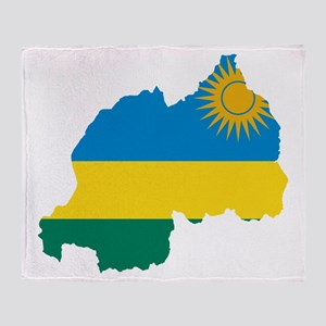 Rwanda Flag and Map Throw Blanket