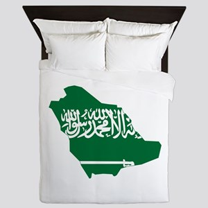 Saudi Arabia Flag and Map Queen Duvet