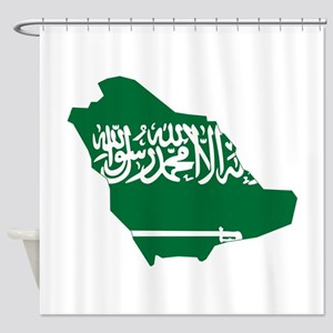 Saudi Arabia Flag and Map Shower Curtain