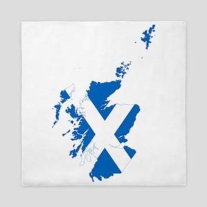 Scotland Flag and Map Queen Duvet