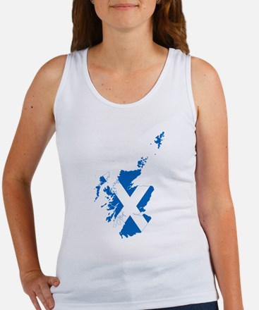 Scotland Flag and Map Women's Tank Top