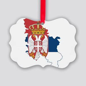 Serbia Civil Ensign Flag and Map Picture Ornament