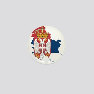 Serbia Civil Ensign Flag and Map Mini Button