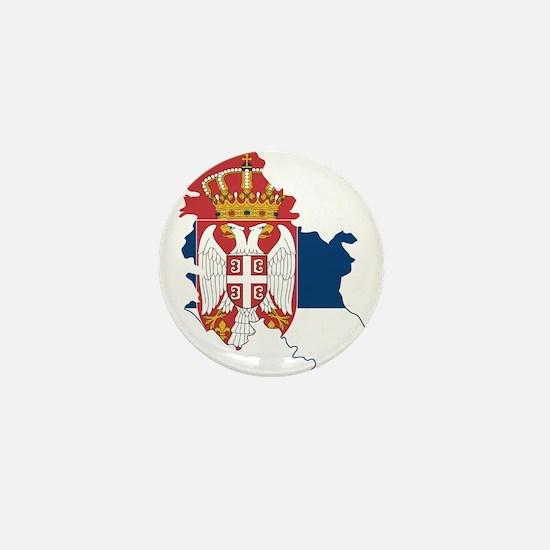Serbia Civil Ensign Flag and Map Mini Button