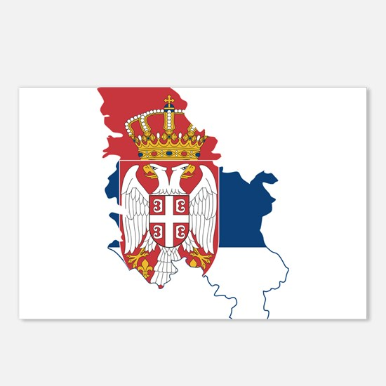 Serbia Civil Ensign Flag and Map Postcards (Packag