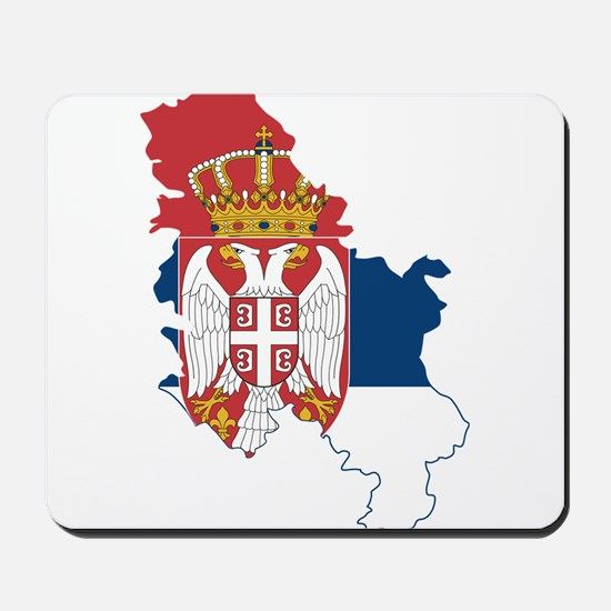 Serbia Civil Ensign Flag and Map Mousepad