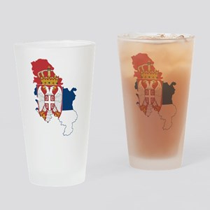 Serbia Civil Ensign Flag and Map Drinking Glass