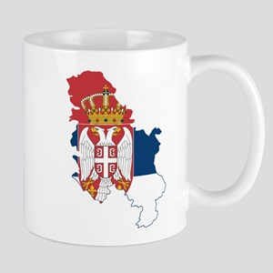 Serbia Civil Ensign Flag and Map Mug