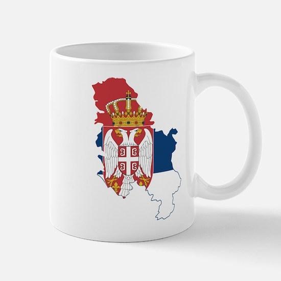 Serbia Civil Ensign Flag and Map Mug