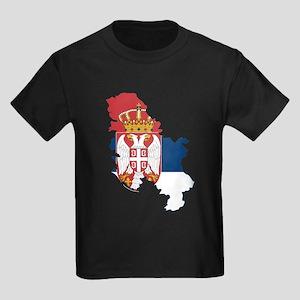 Serbia Civil Ensign Flag and Map Kids Dark T-Shirt