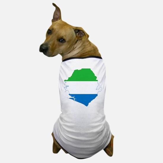 Sierra Leone Flag and Map Dog T-Shirt