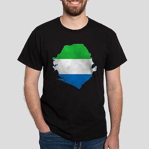 Sierra Leone Flag and Map Dark T-Shirt