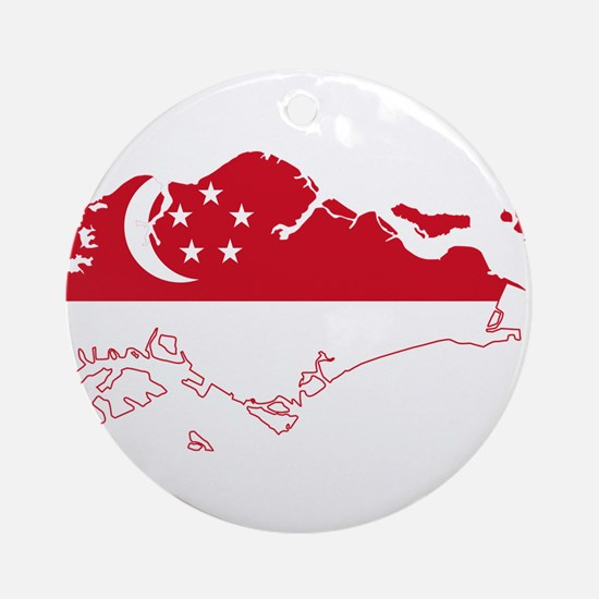Singapore Flag and Map Ornament (Round)