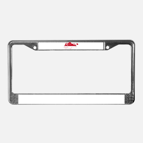 Singapore Flag and Map License Plate Frame
