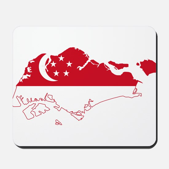 Singapore Flag and Map Mousepad