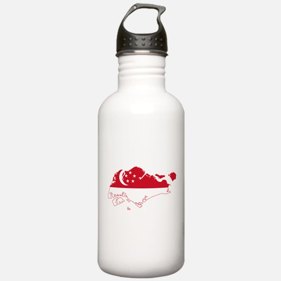Singapore Flag and Map Water Bottle