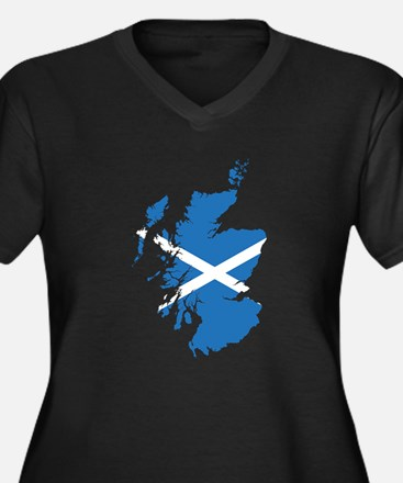 Flag Map of Scotland Women's Plus Size V-Neck Dark