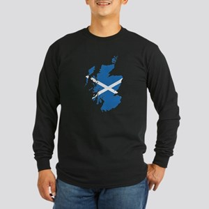 Flag Map of Scotland Long Sleeve Dark T-Shirt