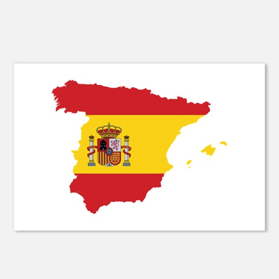 Flag Map of Spain Postcards (Package of 8)
